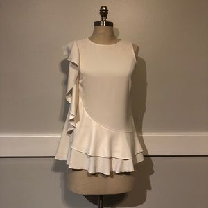 Ann Taylor Sleeveless Ruffle Blouse